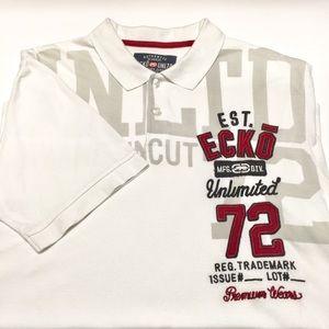 ECKO Men's Polo T-shirt White/Red with Logo